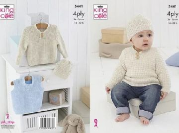 Baby Boy Sweater, Slipover and Hat , King Cole Knitting Pattern 5441